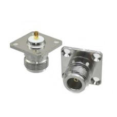 Connector N female jack 4-hole 25.4mm flange solder panel mount straight RF Coaxial Adapter