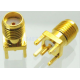 Connector SMA female jack solder PCB mount straight 5.08mm