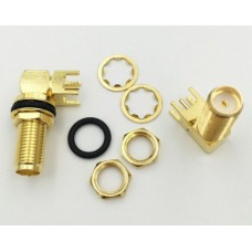 Gold Copper Long SMA Adapter PCB Mount SMA Female Jack Right Angle Coaxial RF SMA Connector