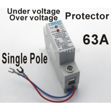 63A 230V Household single pole automatic recovery reconnect over voltage and under voltage protection device