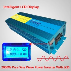 Pure Sine Wave inverter 2000W avg 4000W peak DC 24V TO AC 220V (LCD DISPLAY)