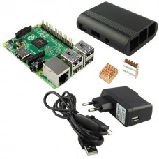 Raspberry Pi 2 Model B 1GB (4 core Broadcom BCM2836 CPU) with Black enclosure, two Heat-sinks and power supply
