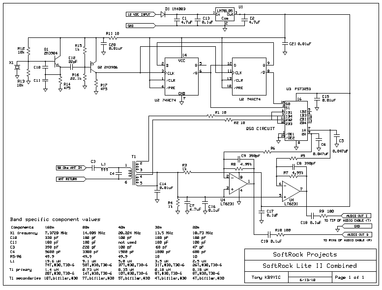 Softrock LiteII (20,30,40,80,160m Band) SDR (Kit)